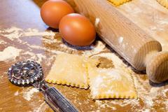 homemade agnolotti - piedmont pasta - stock photo