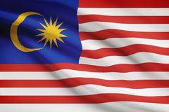 Malaysia flag blowing in the wind. part of a series. Stock Illustration