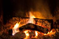 Stock Photo of burning fire in the fireplace
