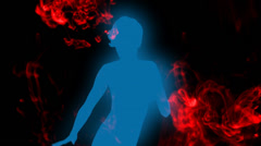 Dancer silhouette with red ink flowing on background. Stock Footage