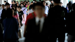 Hong Kong Business Commuters Walking Work Stock Footage