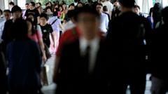 Hong Kong Business työmatkaliikennettä Kävely Work Arkistovideo