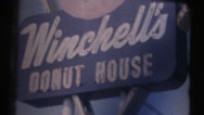 Stock Video Footage of 1950's & 60's  vintage 8mm, Winchell's donuts