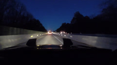 Night construction interstate driving Stock Footage