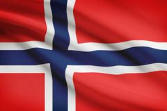 norwegian flag blowing in the wind. part of a series. - stock illustration