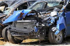 Blue car crash Stock Photos