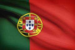 Portuguese flag blowing in the wind. part of a series. Stock Illustration