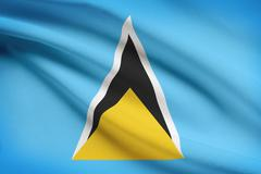 saint lucian flag blowing in the wind. part of a series. - stock illustration
