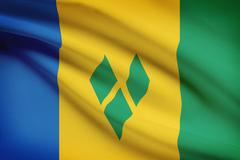 Vincentian flag blowing in the wind. part of a series. Stock Illustration