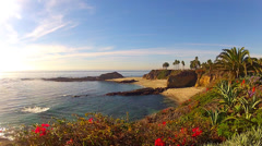 Scenic Bluffs And Ocean- Aliso Beach County Park- Laguna Beach CA Stock Footage