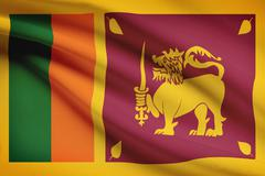 sri lankan flag blowing in the wind. part of a series. - stock illustration