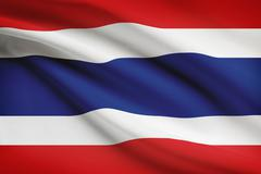 Thai flag blowing in the wind. part of a series. Stock Illustration