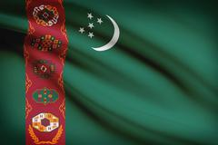 turkmen flag blowing in the wind. part of a series. - stock illustration