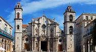 Panorama of havana cathedral square Stock Photos