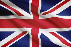 british flag blowing in the wind. part of a series. - stock illustration