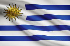 Uruguayan flag blowing in the wind. part of a series. Stock Illustration