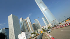 International Finance Centre  Commuter traffic, HK, China - stock footage