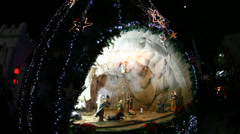 The birth of Jesus scene inside the Christmas tree - stock footage