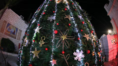 Christmas tree in Nazareth, Israel Stock Footage