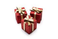 Artificial red gift boxes Stock Photos
