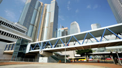 Elevated pedestrian walkway Hong Kong Island, China, Stock Footage