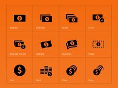 Dollar Banknote icons on orange background. Stock Illustration