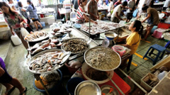 Seafood from vendors market stall, Phuket, Thailand - stock footage