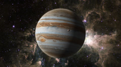 Stock Video Footage of Planet Jupiter with Europa