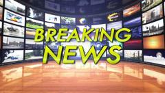 Breaking News Text in Monitors Room, Loop Stock Footage
