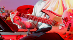 Left Handed Bass Guitar Player at Jazz Concert HD Stock Footage