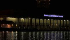 Pan past Tampa Convention Center - stock footage