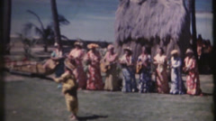 1950's & 60's  vintage Hawaiian dancers, grass hut - stock footage