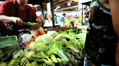 Freshly grown vegetables Phuket market, Thailand - stock footage