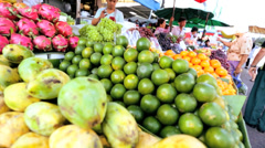 Freshly grown fruit Phuket market, Thailand - stock footage