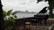Stock Video Footage of A Piano in Copacabana - crane shot