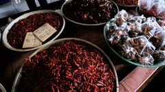 Stall selling dried Red Chili vegetables Phuket, Thailand Stock Footage