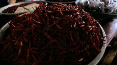 Stall selling dried Red Chili vegetables Phuket, Thailand - stock footage