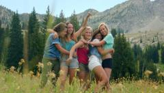 Five Teenage Girls Smile, Act Silly, Run Away From Camera Stock Footage