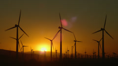 WIND TURBINES AT SUNRISE – PALM SPRINGS, CALIFORNIA # 2 Stock Footage