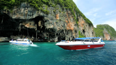Tourist boats Phi Phi Island, Thailand, Asia Stock Footage