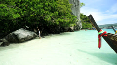 Long tail boat Phi Phi Andaman Sea, Thailand Stock Footage