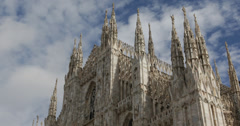 Ultra HD 4K Famous Landmark Duomo Milano Gothic Cathedral Church Milan Italy Stock Footage