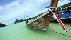 Wooden Long tail boat, Phi Phi Island, Thailand - stock footage