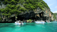 Marine life Phi Phi National Park tourist yacht, Thailand - stock footage