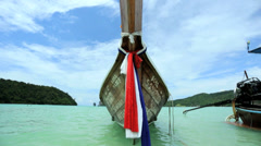 Motorized Long tail Boat Phi Phi Island, Thailand Stock Footage