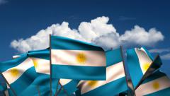 Stock Video Footage of Waving Argentinian Flags