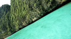 Limestone karsts emerald green water, Phi Phi Island, Thailand - stock footage