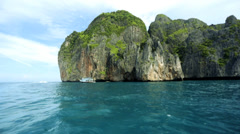 Tropical Island Paradise tourist yachts, Phi Phi Island, Thailand - stock footage