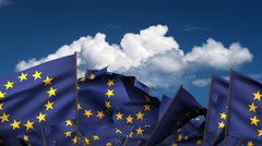 Waving Europe Flags Stock Footage