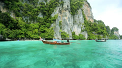 Long tail boat Phi Phi Island Andaman Sea, Thailand - stock footage